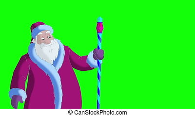 Santa Claus Blowing Snow on Green Screen - Santa Claus...