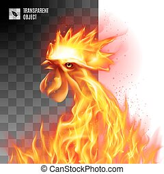 Fiery Golden Rooster - Rooster Head Fiery On Transparent...