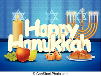 Happy Hanukkah wallpaper background - vector illustration of...