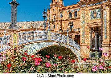 Seville. Spanish Square or Plaza de Espana. - Facades of...