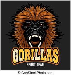 Gorilla head logo vector illustration - sport team