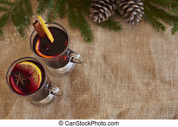 High angle view of two mulled wine