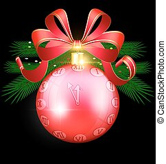Christmas red ball-clock - black background with the large...