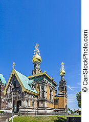 orthodox russian chappel Darmstadt under blue sky