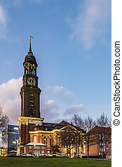 evening view at Michelwiese with St. Michaelis in evening...