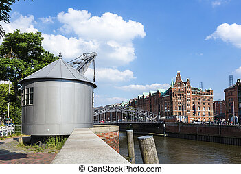 Old crane in Speicherstadt, Hafencity Hamburg, Germany,...