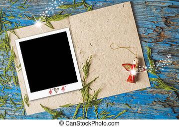 foto, cornice, cartolina,  copyspace, Natale
