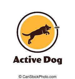 Active dog logotype. Dog silhouette isolated on white...