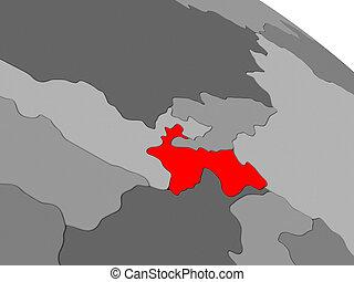 Tajikistan in red - Map of Tajikistan highlighted in red on...
