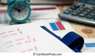 Stock Data Is Recorded In The Diary, Stock Exchange...