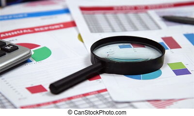 Financial Report - Office Desktop With Business Items, Stock...