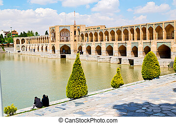 in iran the old bridge and the river - blu in iran the old...