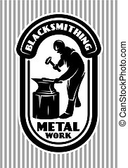 vector template for the logo in retro style with blacksmith hammer, anvil in the smithy