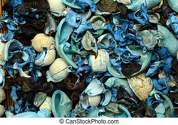 Blue potpourri background : dried petals and spices