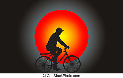 Silhouette man riding the bicycle with super full moon on...