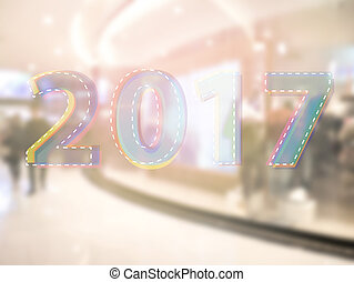 Year 2017 with abstract blur background