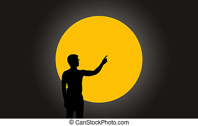 Silhouette man with hand pointing on super full moon...