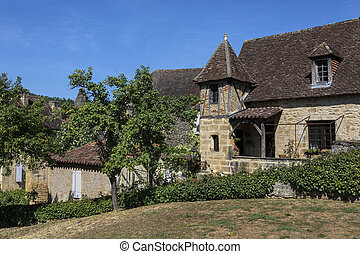 Medieval Buildings - Sarlat - France - Historic medieval...
