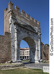 Rimini - Arch of Augustus - Italy - The Roman Arch of...