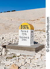 Level stone on the Mont Ventoux as used in France. -...
