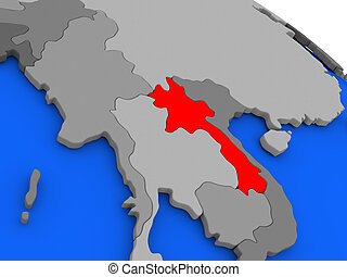 Laos in red - Map of Laos highlighted in red on a globe. 3D...