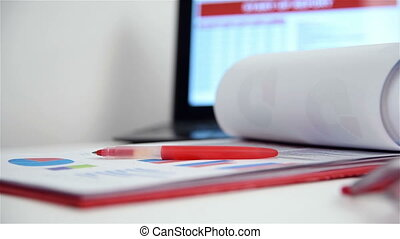 Business Items On Table - Office Desktop With Business...