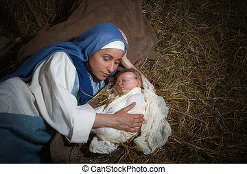 Christmas mother love - Live Christmas nativity scene in an...