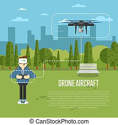 Drone aircraft template with flying robot - Drone aircraft...