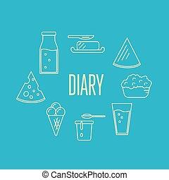 productos, leche, bandera, composición, lechería