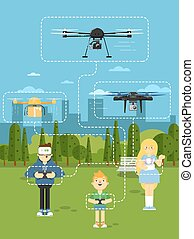 Drone aircraft template with flying robots - Drone aircraft...