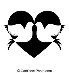 lovebirds silhouette in heart cartoon icon image vector...