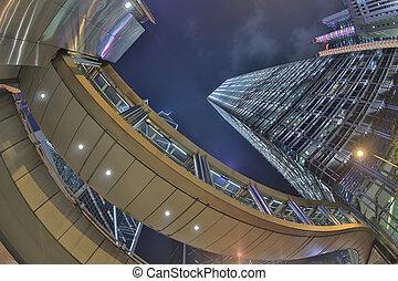 Hong Kong skyline and traffic at nigh - the Hong Kong...