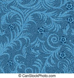 denim floral pattern - Seamless denim background with floral...