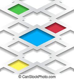 colored inserts - Abstract geometric white background with...