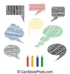 sketches - A set of pencil sketches icons comments. Vector...