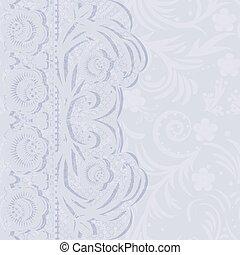 blue invitation - Delicate lace wedding invitation. Vector...