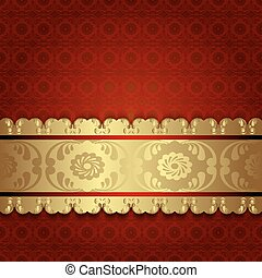 Gold on red. - Ornate gold vintage background in Victorian...