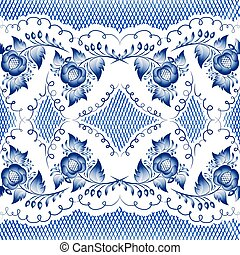 blue gzhel - Seamless floral pattern in gzhel style. Vector...