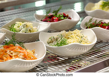 salads on a show-window - the range of salads on a...