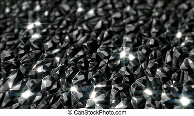 Black shiny crystals motion background seamless loop