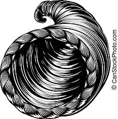 Cornucopia Horn of Plenty Woodcut - A cornucopia horn of...