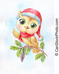 Cartoon cute owl. Funny watercolor illustration. Symbol of new year.
