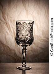 Wine glass in dark - Glass and bottle wine on wooden table