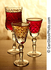 Wineglass on table - Glass and bottle wine on wooden table