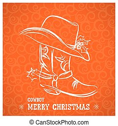 Cowboy merry christmas with cowboy boot and western hat -...