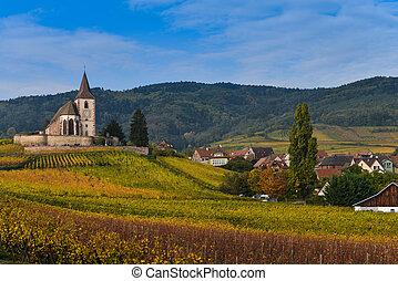 Hunawihr, Alsace Vineyard, France - France, Haut-Rhin, 68,...
