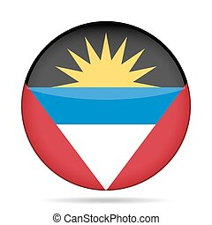 Flag of Antigua and Barbuda. Shiny round button.