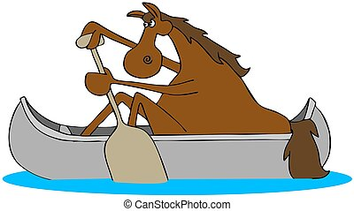 Horse paddling a canoe - Illustration of a red colored horse...
