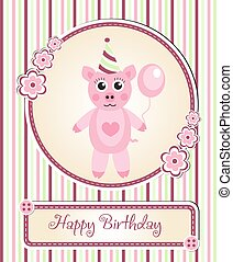 CÙte, bambini, augurio, maiale,  s, compleanno, sagoma, cartone animato, festa