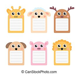 Cute animals note set of scrapbook elements. Vector illustration